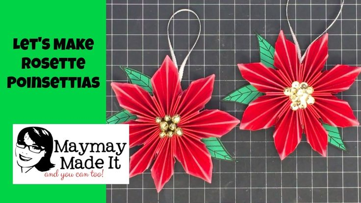 Rosette Poinsettias Tutorial Published on Oct 28, 2016 I am so in love with making paper rosettes lately. I love to fold paper anyway so this sort of feeds my love for that. I hope you enjoy making these:  Start with 8 x 10 piece of cardstock Score it every 1/2 inch on the the 10 inch side cut into two inch strips on the 8 inch side cut those strips in half at 5 inches Fold those in half, Mark up 1/2 in from the folded edge Cut the angle from the folded edge mark to the folded corner point…