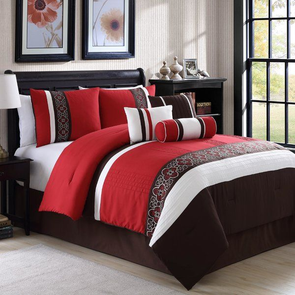 Give your bedroom a makeover with this beautiful luxury 7 piece comforter set. It features embroidered floral pattern that are bordered by alternating solid Burgundy and beige stripes for a cozy and refined appearance.