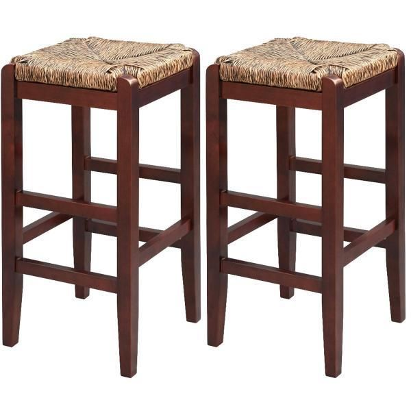 New Modern Set Of 2 Kitchen Bar Stool Chocolate Solid