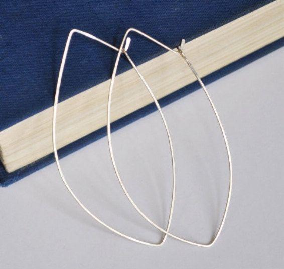 Sterling Silver Marquise Hoop Earrings - Modern Hoops - Elongated 3 inch Dangle Earrings - Elegant Jewelry