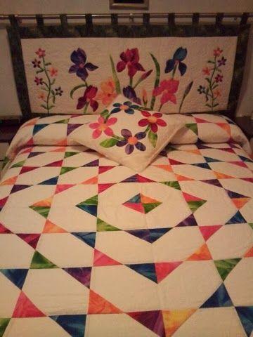 fraupatchwork y sus ositos: Colcha patchwork con telas batió, cabecero y cojín, todo coordinado