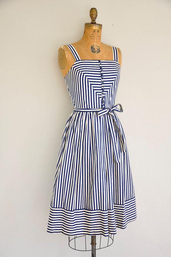 1960s nautical stripe dress