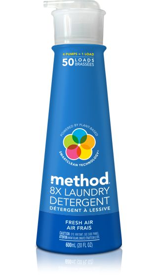 method laundry detergent in fresh air packs 50 loads of ultra concentrated plant-based formula, delivering big cleaning power with a few tiny squirts.