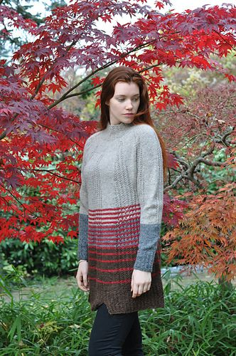 'Haustar' means 'autumn', and this pattern celebrates the colours of the sky, the earth and the falling leaves. The knit and purl stitches of this tunic-length sweater create a beautiful, tactile all-over pattern. Feel free to adjust the length to your own taste.