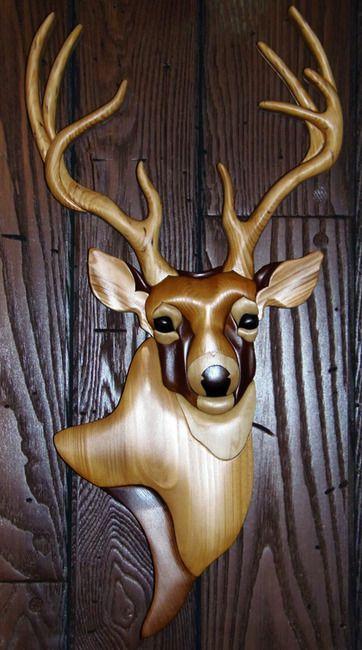 Intarsia Deer Wall Plaque