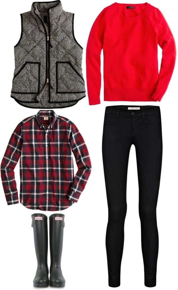 red. sweatshirt. black. tweed. vest. black. riding tights. Hunter. boots. wet. cold. barn.