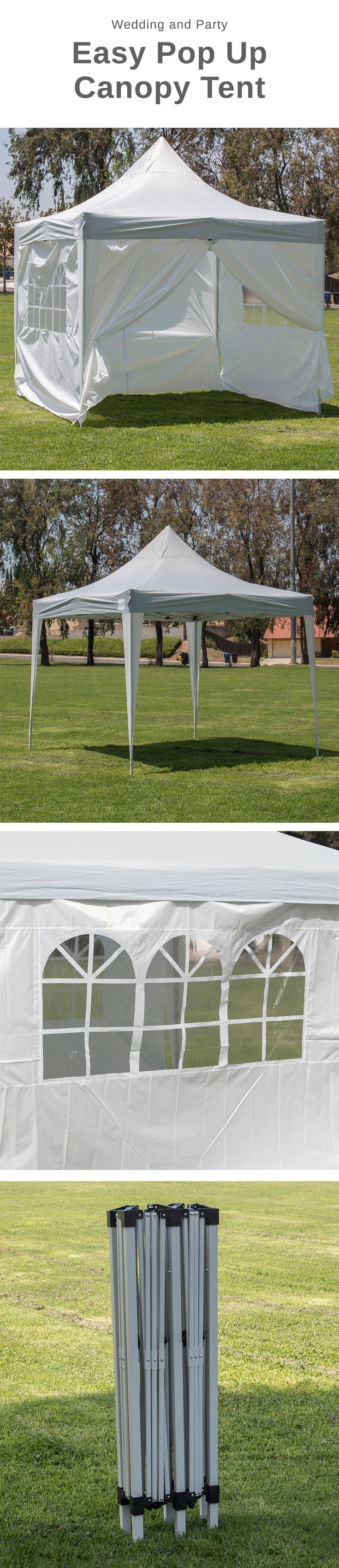 Premium 10x10 Outdoor Wedding Canopy Event Party Tent w/ 4 Walls. Featuring a taller height that allows for more room, cooler temperatures, and easy assembly. Designed to withstand the elements, this Premium Pop Up Canopy tent features simple easy to set