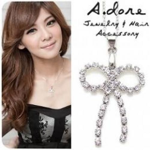 Rhinestone `Bow` Necklace Silver - One Size