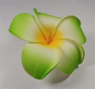 Hawaiian Wedding Aloha Flower Green White And Yellow Plumeria Luau Hair Clip 2