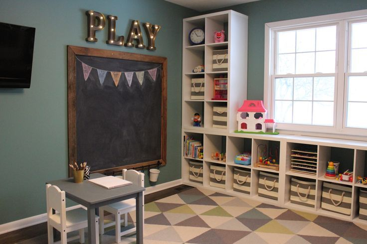 Playroom - chalkboard - marquee letters- Ikea Kallax shelves- toy storage- triangle rug