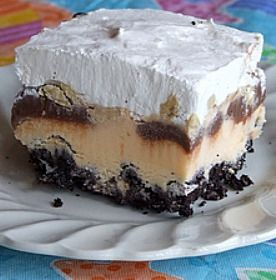 Buster Bars... a recipe just like the ice cream bar goodies you get at Dairy Queen, but so much better.  Great dessert recipe for a 4th of July BBQ.