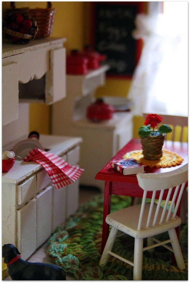 cute mini red and white kitchen: Kim at Daisy Cottage