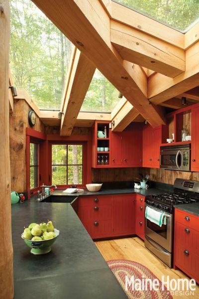 simple kitchen, amazing beam/window ceiling