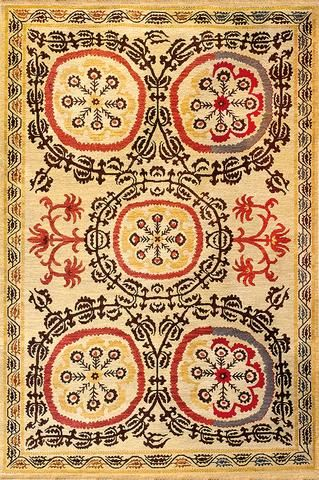 suzani 1 mocha red - this classic soumak wool rug has a mediterranean feel, like a roman mosaic.