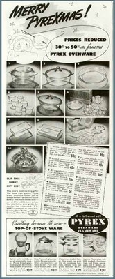 Excellent Dated 1938 Pyrex Cookware Christmas Ad