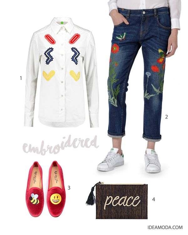 1. cotton shirt from Stella McCartney  via The Outnet         2. jeans from Atelier Notify 3. velvet slippers from Del Toro 4. pouch from Kayu #embroidered