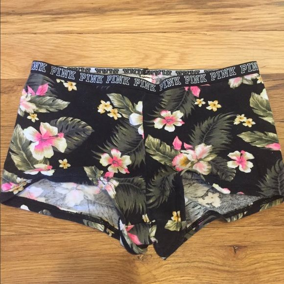 Pink Victoria secret tropical print boy shorts Never worn, only took tags off PINK Victoria's Secret Intimates & Sleepwear Panties