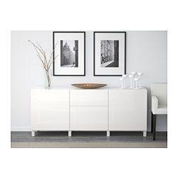 IKEA - BESTÅ, Förvaring med lådor, svartbrun/Selsviken högglans/beige, lådskena, tryck-och-öppna, , Lådorna och dörrarna har integrerad tryck-och-öppna-funktion, så du behöver inte handtag eller knoppar och kan öppna dem med bara ett lätt tryck.Benen lyfter upp din BESTÅ från golvet och ger den ett lätt och luftigt utseende, samtidigt som det blir enklare att städa under den.De två lådorna gör det enkelt att hålla ordning på dina saker. På hyllplanen bakom dörrarna finns det plats för ännu…