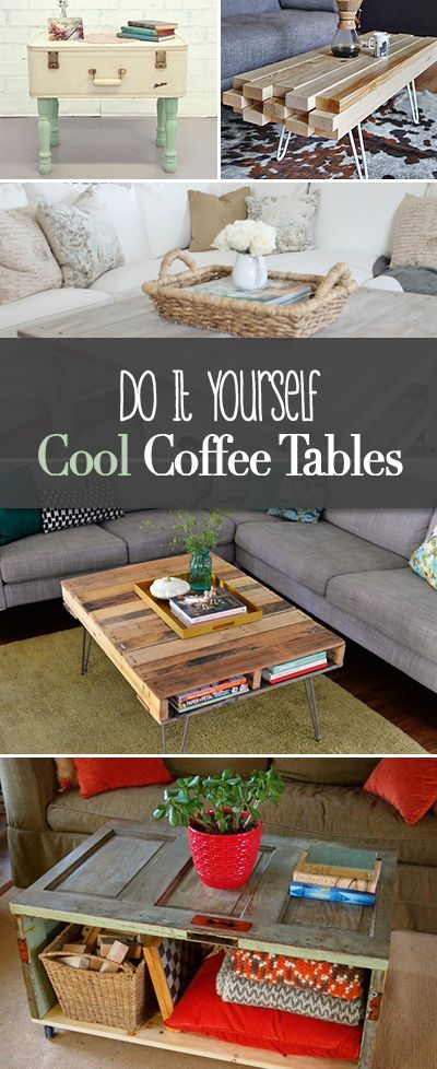 Do It Yourself Cool Coffee Tables • Make your own creative coffee tables with these step by step tutorials! Love the hairpin legs!