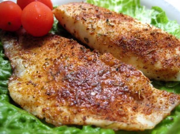 Seasoned Talapia Fillets. I made these and tossed some veggies (frozen) into the sides of the pan and the hubby and I really liked it! Which is great, since neither of us is a big fan of fish.