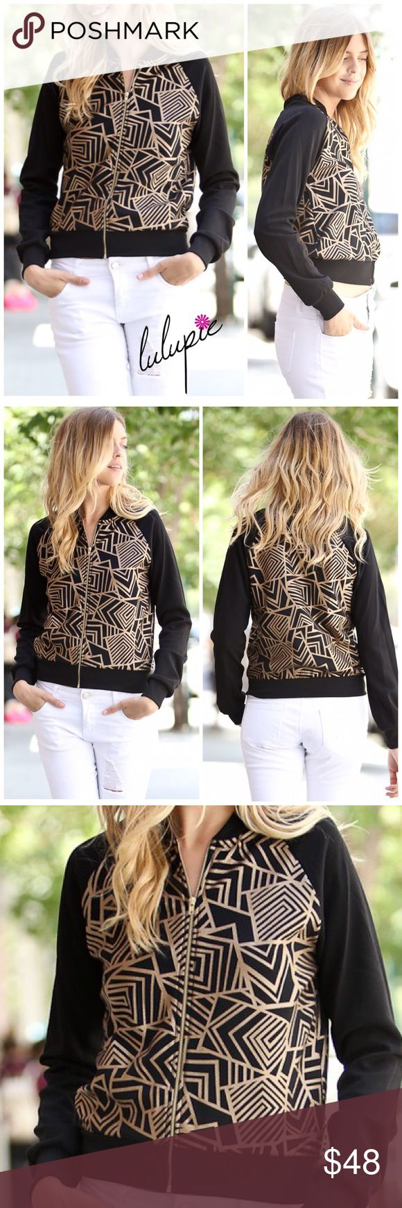 """✳️MOVING SALE✳️Black and Gold Bomber Jacket Kick off the fall/winter season in this unique stylish black bomber jacket featuring gold color abstract patterns. Made of 96/4 polyester-spandex material for that added stretch. Finished with a gold color zipper and a thick bottom hemline. MADE IN USA 🇺🇸  Measurements laying flat Small Bust 17""""/ length 21""""  Medium Bust 18.5""""/ length 21.5""""  Large Bust 20""""/ length 22""""  ✔️ Bundle Discounts  ✔️ Reasonable Offers through offer button  ❌ Low Balling…"""