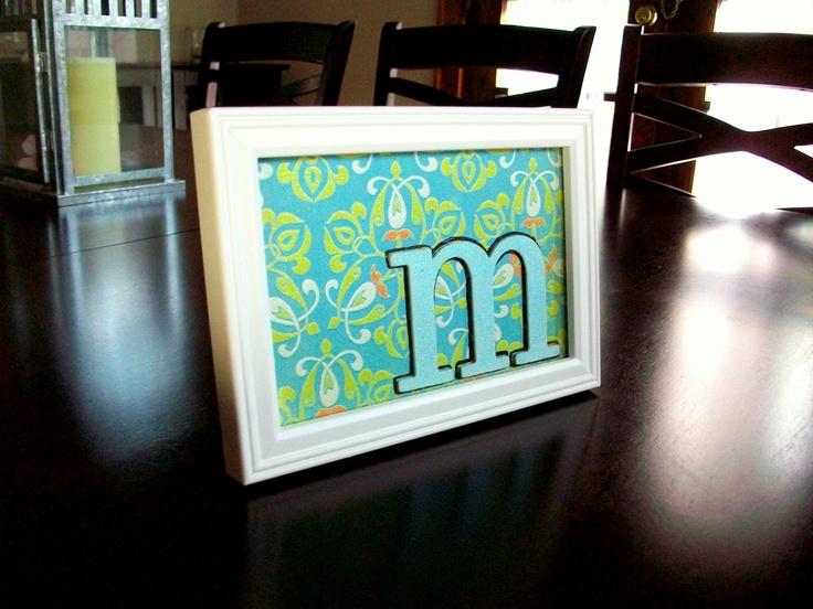 Diy framed initial scrapbook paper chipboard letter