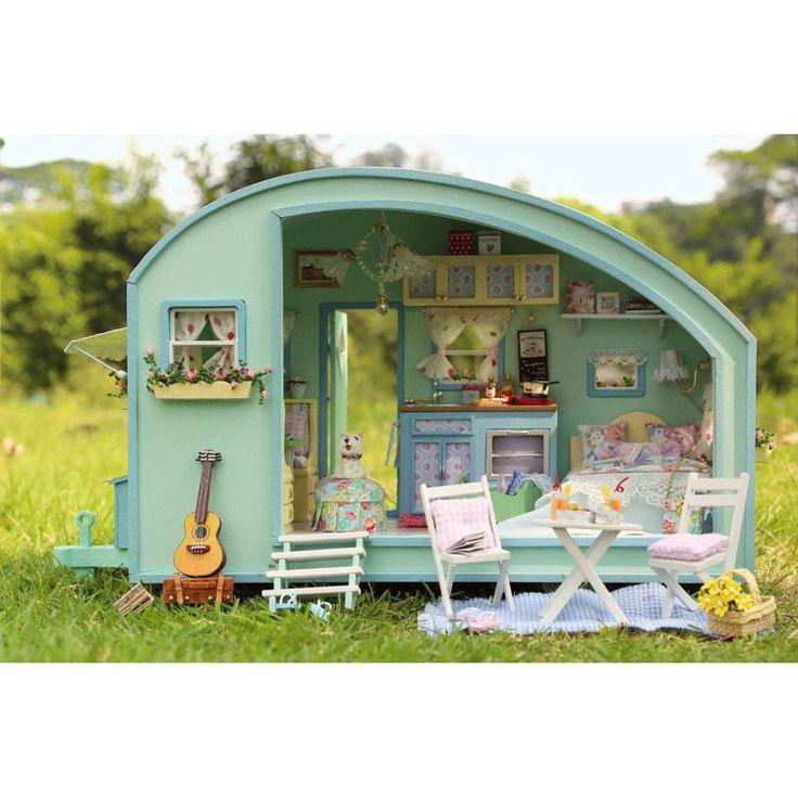 DO IT YOURSELF En bois maison de poupées Miniature Kit- Caravane