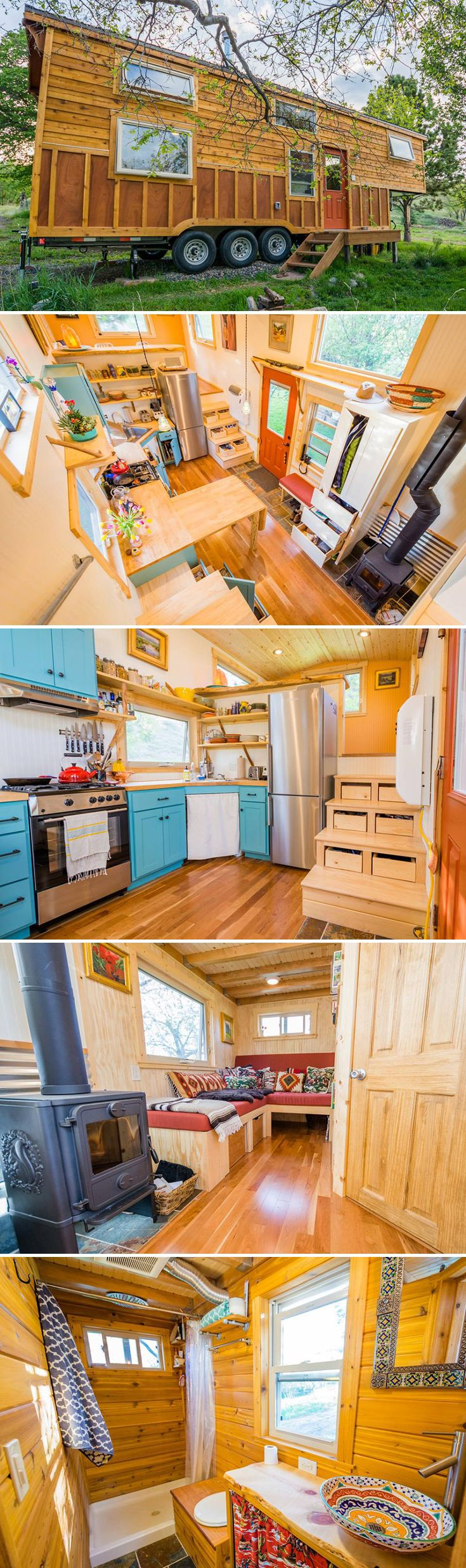 Built on an over-width 10'x33' trailer, this gooseneck tiny house provides a spacious interior with two distinct living spaces and a bedroom loft.