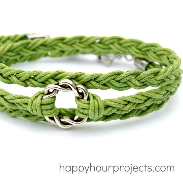 See this cute Woven Wrap Bracelet by Adrianne?  This is what Adrianne does during Happy Hour: Projects.  On. Her. Blog. Happy Hour Projects! So cute!!