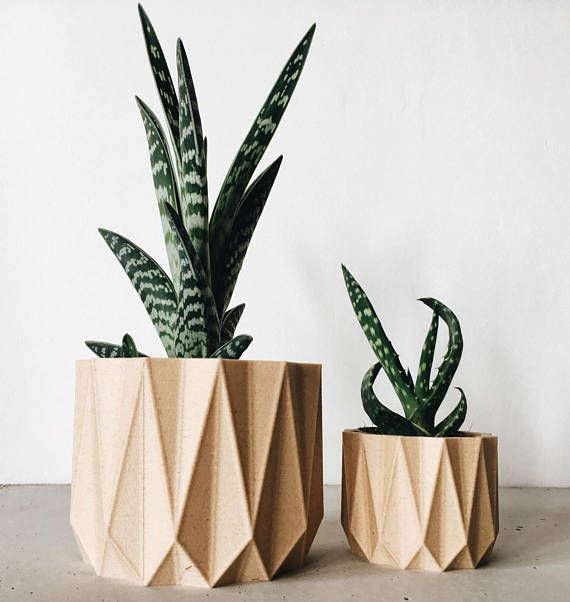 Bring A Touch Of Originality And Modernity To Your Planter Of Succulent Or  Cacti With This Planter Design, Geometric, Printed In 3D In Wood / ORIGAMI.