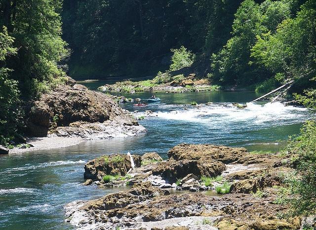 Roseburg, Oregon, the Umpqua River. Roseburg is where a lot of Oregonian wineries are. It is also boasts of beautiful Oregonian scenery.
