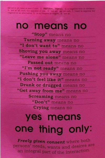 Domestic violence, teen dating abuse and partner violence can stem from a misconception of a simple word. THIS is what 'no' means.