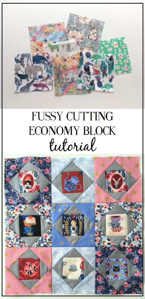 Fussy cutting tutorial and free economy square quilt block patterns on BlossomHeartQuilts.com