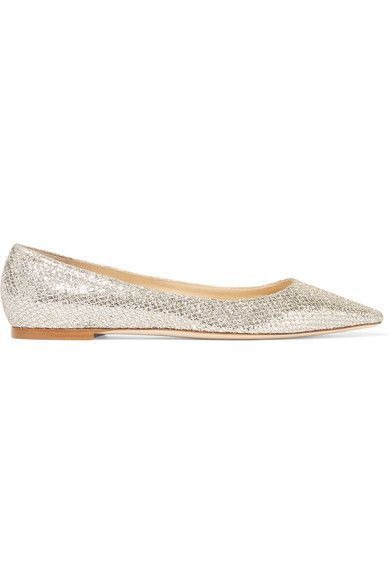POP THE CHAMPAGNE: Jimmy Choo's 'Romy' shoes are crafted in Italy from champagne glittered canvas woven with gold thread – they are an effortlessly glamorous alternative to heels. This pair is lined in leather for a smooth, supple finish and has an elegant pointed toe.
