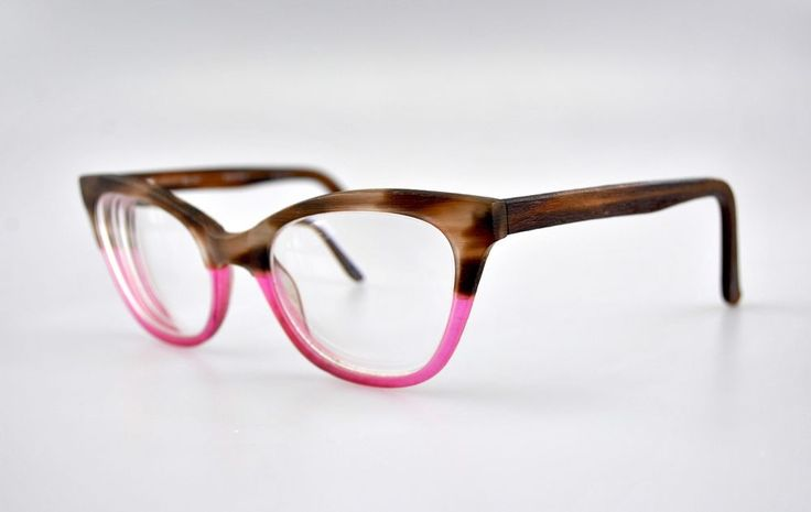 RICKEY SMILEY 201 Rx Eyeglasses Women Cat Eye Pink Brown 52-20-140 #RICKEYSMILEY