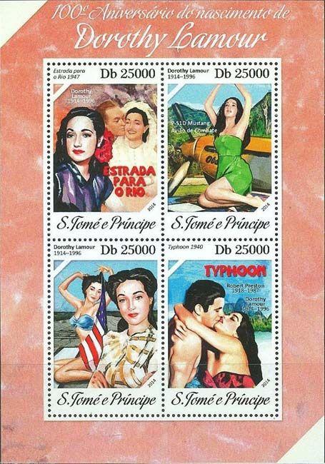 В 2014 году почтовая служба Сан-Томе и Принсипи  листа серии «100-летие Дороти Ламур (1914 – 1996)»