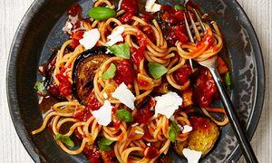 Spaghetti with tomatoes and aubergine. Yotam Ottolenghi  The Guardian