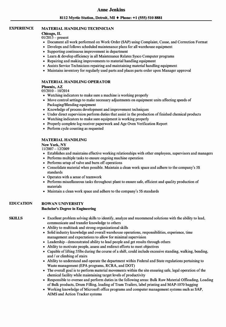 Material Handler Job Description Resume Inspirational