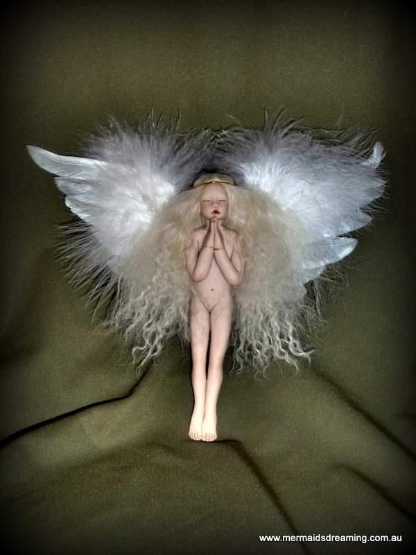 Handmade heirloom Christmas tree angel by Mermaids Dreaming