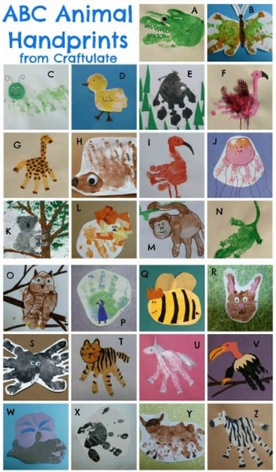 Animal Alphabet Handprint Art