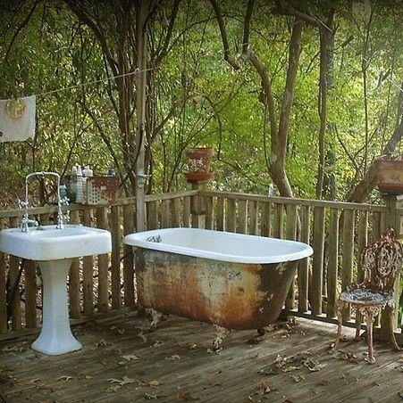 Outdoor Bathrooms And Indoor Gardens [ Wainscotingamerica.com ] #Bathrooms #wainscoting #design