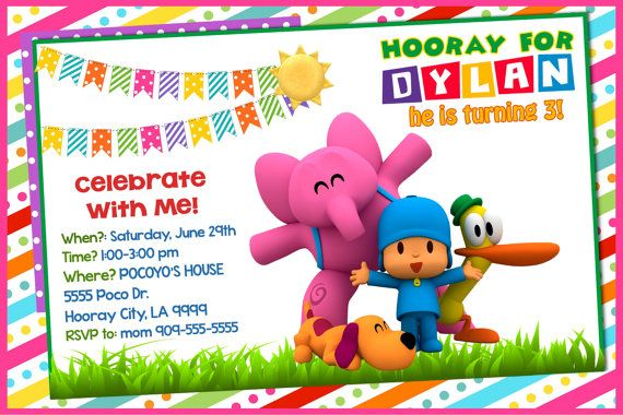 Pocoyo Invitation Card Pocoyo Birthday Invitation By Ezpartykits