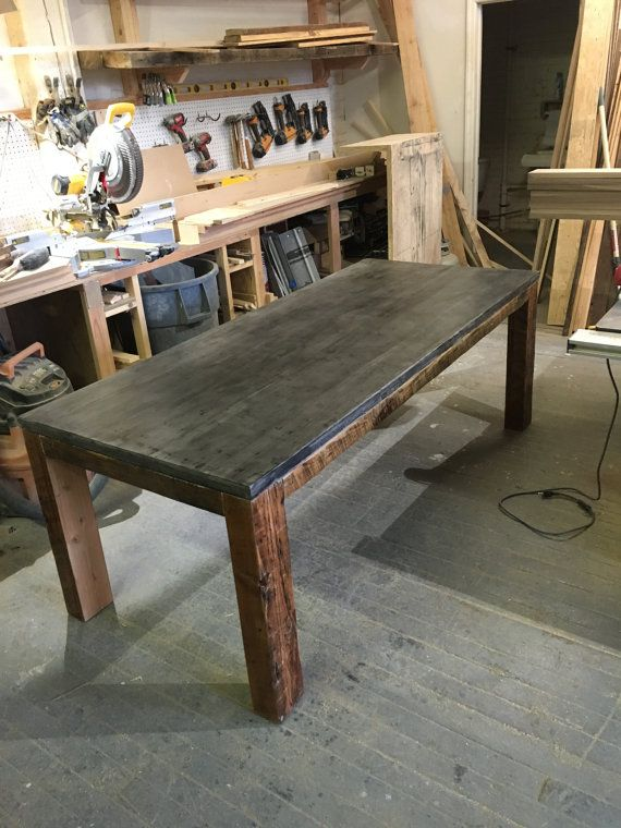 Reclaimed Wood & Concrete Slab Dining Table by decoratelier