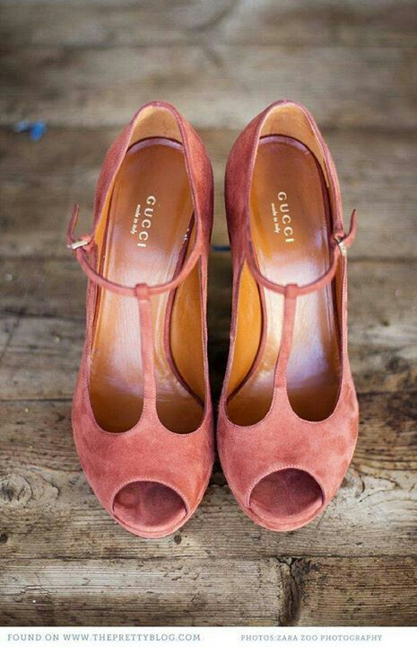 Salmon-colored suede Guccis