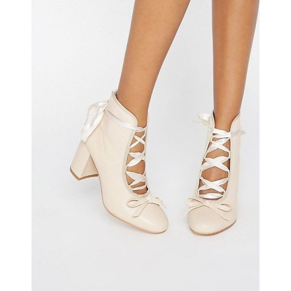Daisy Street Nude Ballet Mid Heeled Ankle Boots (675 ZAR) ❤ liked on Polyvore