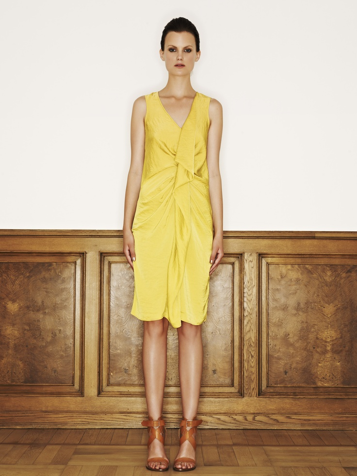 Rützou polyester dress in electric yellow