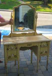 Antique Vanity Shabby Chic yellow mirror by HeatheredVintage, $240.00