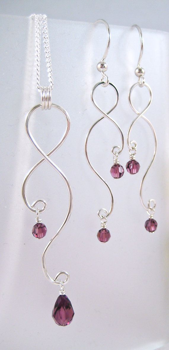 Silver Earrings and Necklace Set Curving Wire
