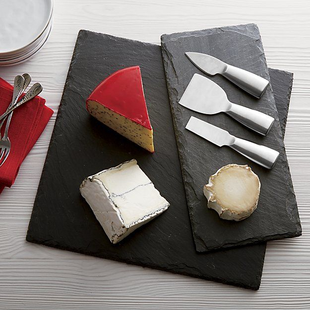 Shop Slate Cheese Boards.  Beautiful hand-shaped boards of natural slate show off unique flaked edge, providing an earthy foundation for cheeses, charcuterie or appetizers.