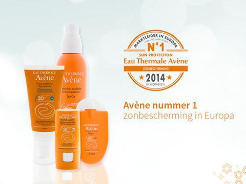 Met trots kunnen we u melden dat het merk Eau Thermale Avène ook voor het derde jaar op rij (2012, 2013, 2014) het nummer 1 merk is in Europa in dermo-cosmetica. Avène is nummer 1 in de productlijnen Antirougeurs, Zonbescherming, Cleanance en Cicalfate.